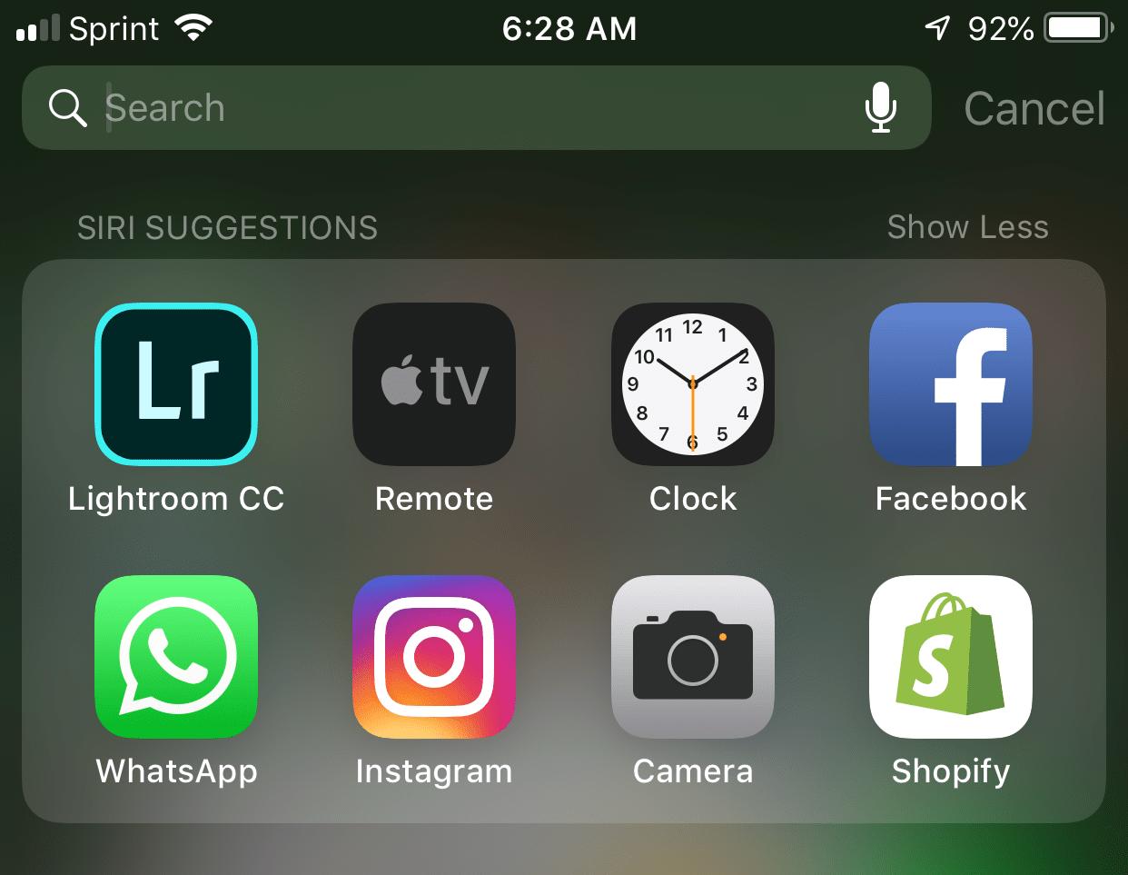 Screenshot of apps, showing the Lightroom app.
